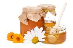 Miele e fiori Fotografie Stock Libere da Diritti