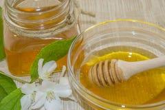 Miele e spezie su una superficie di legno Fotografia Stock Libera da Diritti