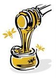 Miele ed api Immagine Stock