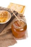 Miele isolato su fondo bianco Fotografie Stock