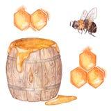 Miele messo: un barilotto di miele, ape, favo Pittura dell'acquerello Fotografia Stock