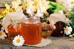 Miele in un barattolo Fotografia Stock