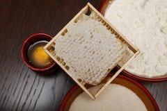 Miele, zucchero e farina Fotografie Stock Libere da Diritti