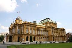 Miembro de la UE de Croacia/Zagreb/teatro nacional croata imagen de archivo libre de regalías