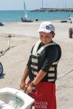 Miembro del campeonato búlgaro en la navegación en Pomorie Foto de archivo
