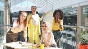 Miembros femeninos diversos hermosos de la empresa de negocios internacional almacen de metraje de vídeo