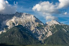 Mieming Range - Eastern Alps - Tyrol Austria. Mieming Range or Mieminger Mountains, eastern Alps, with the peaks of Hochplattig 2768 and Hochwand 2719. Tyrol royalty free stock photography