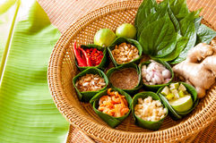 Mieng Kham (Thai Leaf-Wrapped Snack) Stock Photo
