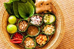 Mieng Kham (Thai Leaf-Wrapped Snack) Royalty Free Stock Photography