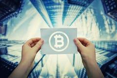 Mienia bitcoin symbol Zdjęcia Royalty Free