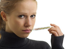 mienia chora termometru kobieta Zdjęcie Stock