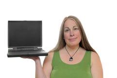 mienia laptopu kobieta zdjęcie royalty free