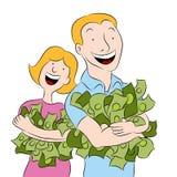 mienia pieniądze ludzie stosów royalty ilustracja