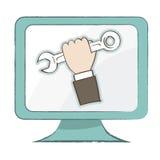 Mienia spanner ikona na komputerowym monitorze - Wektorowa ilustracja Ilustracja Wektor