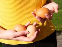 Mienia trzy żeńscy jajka w ona ręka obrazy royalty free