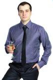 mienie biznesowy szampański szklany mężczyzna Zdjęcia Royalty Free