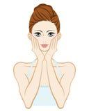 Mienie policzek oba ręki - skóry opieki kobieta ilustracja wektor