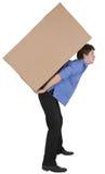 mienie pudełkowaty kartonowy mężczyzna Fotografia Stock