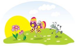 Mier en vlinder Stock Foto's