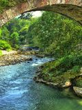 Miera River passing by Lierganes (Cantabria, Spain). Panoramic view of Miera River passing by Lierganes (Cantabria, Spain royalty free stock photos