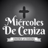Miercoles de Ceniza -复活节前的第七个星期三西班牙文本-基督徒传统 库存例证