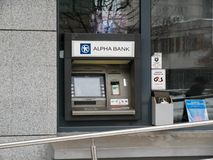 Alpha Bank ATM on the city streets. Miercurea Ciuc, Romania-17 February 2019: Alpha Bank ATM on the city streets royalty free stock image