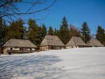 Traditional Transylvanian log houses on local museums backyard. royalty free stock images