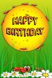 Mieren, bloemen en gras - de kaart van de Verjaardag Royalty-vrije Stock Foto's