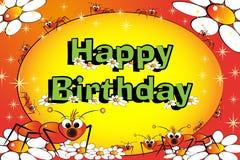 Mieren, bloemen en sterren - de kaart van de Verjaardag Stock Foto