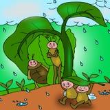 Mieren in de regen. Stock Foto's