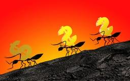 Mieren die dollars dragen Stock Foto's