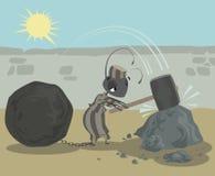Mierengevangene met kettingenbal die harde brekende rotsen werken Royalty-vrije Stock Afbeeldingen