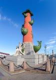 Mierzeja Vasilyevsky wyspa, widok na Dziobowych kolumnach w St Peter Obrazy Royalty Free