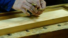 Mierzyć drewnianą deskę z taśmy miarą zdjęcie wideo