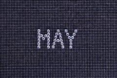 Miesiąc MAY zrobi rhinestones krystaliczny kolor na czerni kanwy półdupkach Zdjęcia Royalty Free