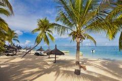 Miesiąca miodowego o tropikalna wyspa Mauritius, sunbeds z palmowym liściem pokrywa strzechą dekarstwo parasole Obrazy Stock