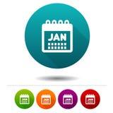 Miesiąca Stycznia ikona Kalendarzowy symbolu znak Sieć guzik Obrazy Royalty Free