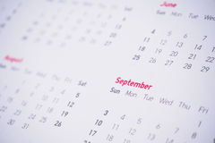 Miesiące i daty na kalendarzu fotografia stock