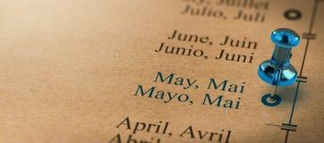 Miesiące roku kalendarz, ostrość na Maju Fotografia Stock