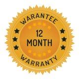 12 miesięcy gwaranci znaczek odizolowywający na bielu Obrazy Stock