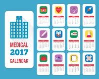 Miesięczny ścienny kalendarz dla roku 2017 Obrazy Royalty Free