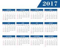 Miesięczny ścienny kalendarz dla roku 2017 Fotografia Royalty Free