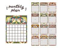 miesięczny planisty szablon Planisty kalendarz z Wszystkie miesiącami Fotografia Royalty Free