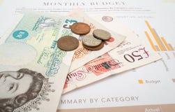 Miesięczny wydatek Budżetuje, Brytyjski Funtowy Sterling zdjęcie royalty free