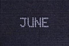 Miesiąc CZERWIEC zrobi rhinestones krystaliczny kolor na czerni kanwy b Fotografia Stock