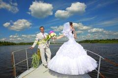 Miesiąc miodowy wycieczka na jachcie Obrazy Stock