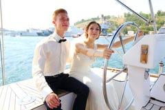 Miesiąca miodowego rejs na jachcie Fotografia Royalty Free
