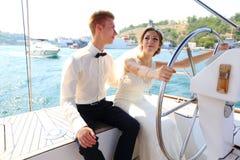 Miesiąca miodowego rejs na jachcie Obraz Stock