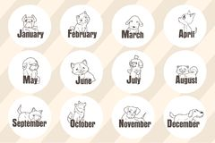 12 miesiąca z kreskówka psem fotografia stock