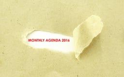 MIESIĘCZNA agenda 2016 Obraz Royalty Free